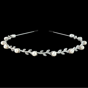 Swarovski Crystal & Pearl Headband - Single Row S-HB101