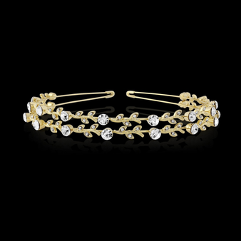 Crystal Chic Headband - Double Row Gold S-HB200