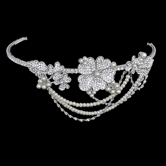 Elite Collection - Bejewelled Statement Piece Brow Band- HP176 Silver