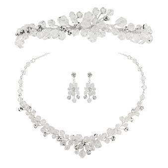 Crystal Clear Tiara Set - Silver