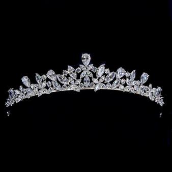 Cubic Zirconia Collection  - Diamond Treasure Tiara - Silver