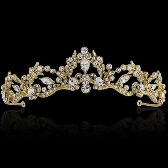 Lavina Tiara - Crystal Embellished - 14K Gold Plated