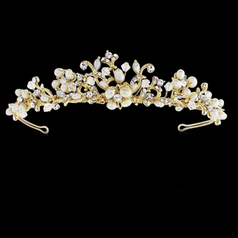 Serena - Freshwater Pearl Tiara - 14K Gold