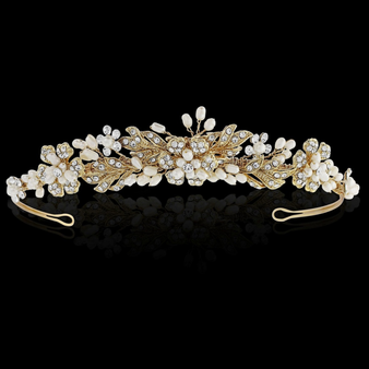 Bethany Crystal Luxe Tiara - 14K Gold Plated