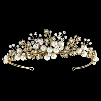 Tess Luxe Pearl Tiara - 14K Gold Plated