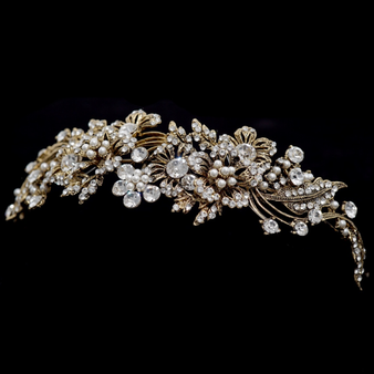 Elite Collection - Enchanting Pearl Tiara - Antique Gold
