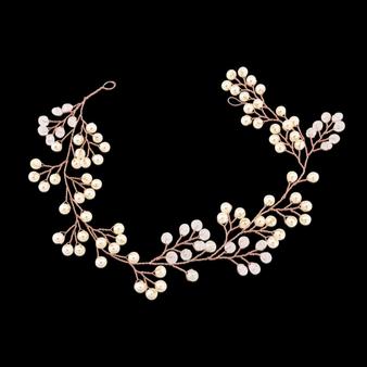 Mini Pearl Embellished Hair Vine - HP139 Rose Gold