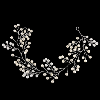 Mini Pearl Embellished Hair Vine - HP139 Silver