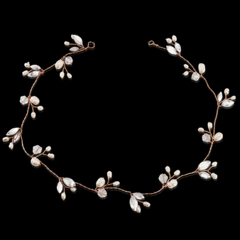 Chic Freshwater Pearl Hair Vine - Rose Gold