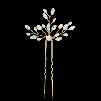 Gold Elodie Crystal Pearl Hair Pin - HP1