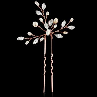 Elodie Crystal Pearl Hair Pin - Rose Gold