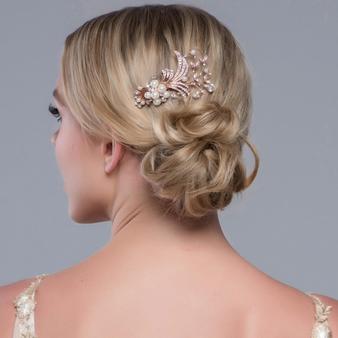 Vera Pearl Hair Comb - Rose Gold