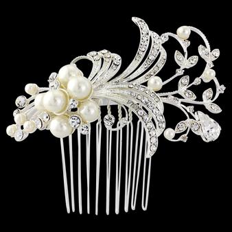 Vera Pearl Hair Comb - Silver