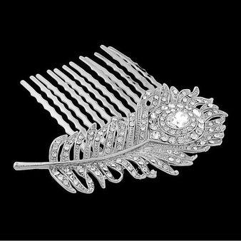 Crystal Peacock Feather Bridal Hair Comb - Silver