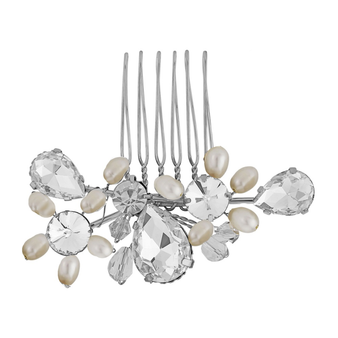 Crystal Bridal Hair Comb - Silver