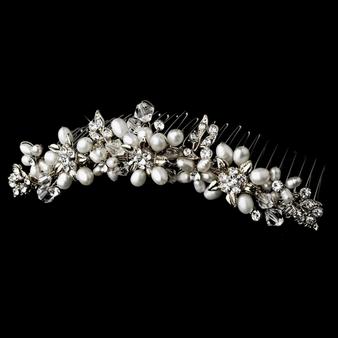 Crystal & Pearl Tiara Hair Comb - Silver