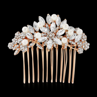 Vintage Pearl Hair Comb - Rose Gold