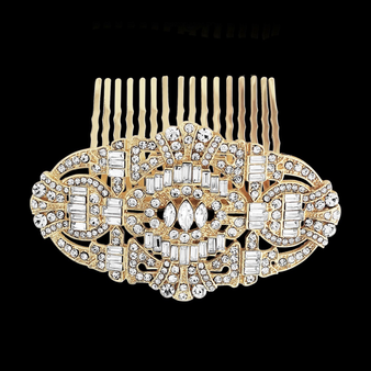 Vintage Style Crystal Comb - Gold