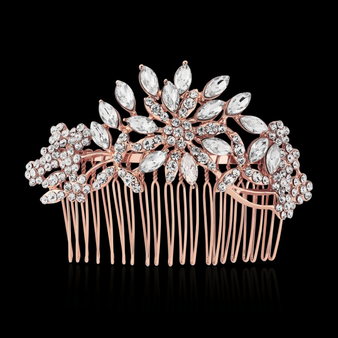Crystal Extravagance Hair Comb - Rose Gold