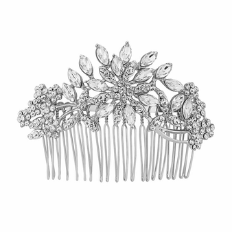 Crystal Elegance Hair Comb - Silver