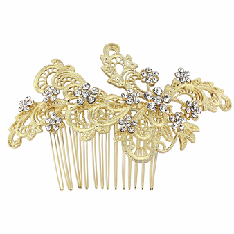 Liza Exquisite Hair Comb - 14K Gold