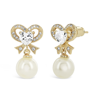 Cubic Zirconia Collection - Eternal Pearl Earrings - Gold