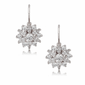 Cubic Zirconia - Crystal Sparkle Earrings - Silver
