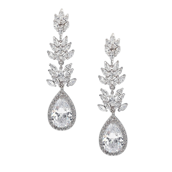 CZ Collection - Sparkling Glamour Earrings - Silver