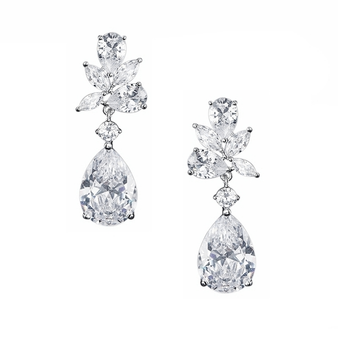 Cubic Zirconia Collection - Exquisite Starlet Earrings - Silver