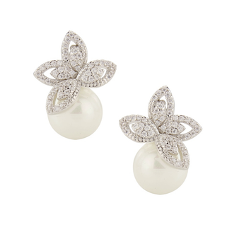 Cubic Zirconia Collection - Crystallure Pearl Earrings