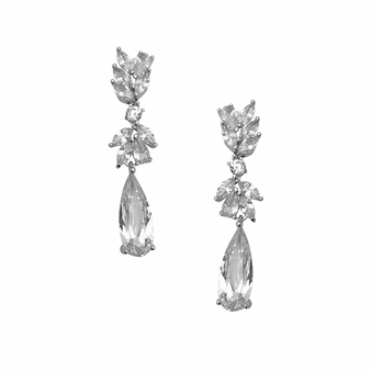 Cubic Zirconia Collection - Chic Chandelier Earrings - Silver