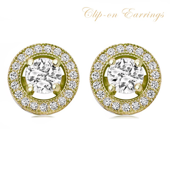 Cubic Zirconia Collection - Exquisite Crystal Stud Earrings - Gold