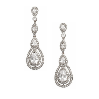 Cubic Zirconia Collection - Starlet Sparkle Earrings - Silver
