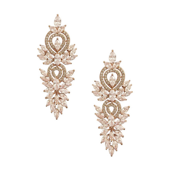 Cubic Zirconia Collection - Crystal Lush Earrings - Rose Gold