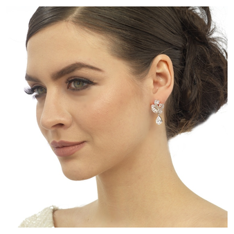 Cubic Zirconia Collection - Bejewelled Earrings - Rose Gold