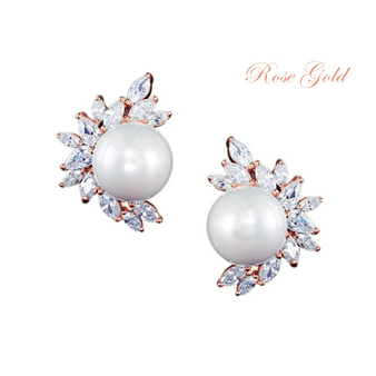 Cubic Zirconia Collection - Dazzling Pearl Earrings - Rose Gold