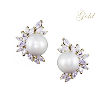 Cubic Zirconia Collection - Dazzling Pearl Earrings - Gold