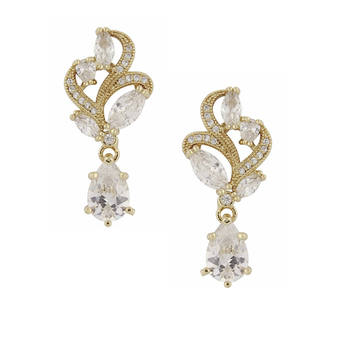 Cubic Zirconia Collection - Bejewelled Earrings - Gold