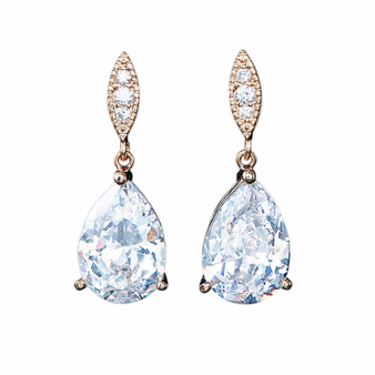 Cubic Zirconia Collection - Classic Sparkle Earrings - Rose Gold