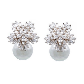 Cubic Zirconia Collection - Pearl Extravagance Earrings - Silver
