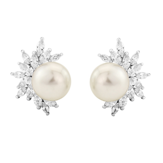 Cubic Zirconia Collection - Dazzling Pearl Earrings
