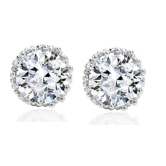 Cubic Zirconia Collection - Crystal Sparkle Stud Earrings
