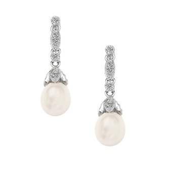 Cubic Zirconia Collection - Vintage Natural Pearl Earrings