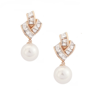 Cubic Zirconia Collection - Gatsby Glam Earrings - Rose Gold