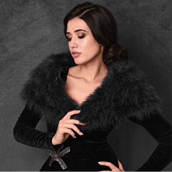 Vintage Inspired Marabou Feather Stole - Black