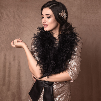 Ostrich Feather Stole - Black