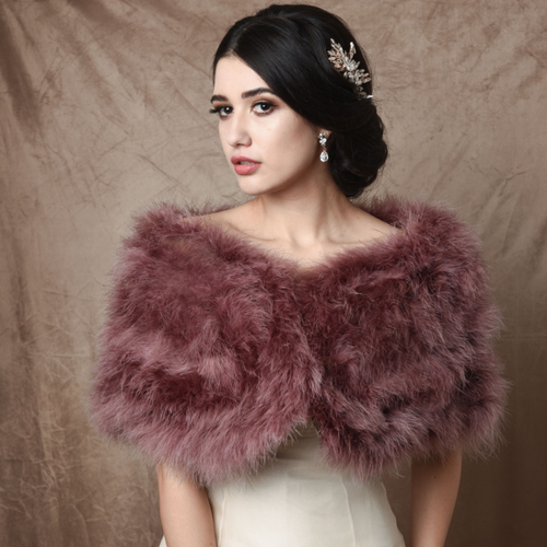 Marabou Feather Wrap - Dusty Pink