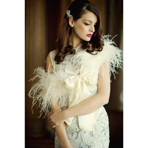 Ostrich Feather Stole - Ivory SG4