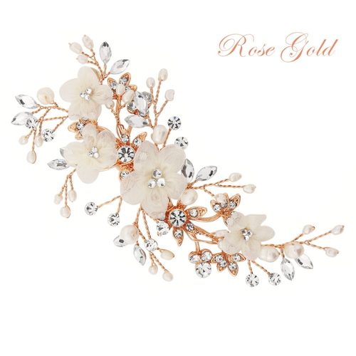 Carrie Floral Romantic Headpiece - Rose Gold