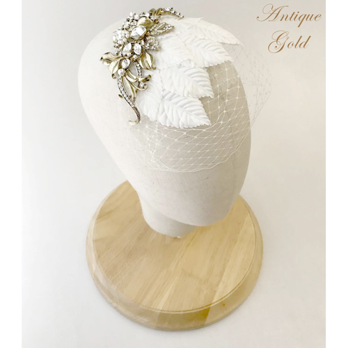 Elite Collection - Regal Luxe Birdcage Veil - Antique Gold